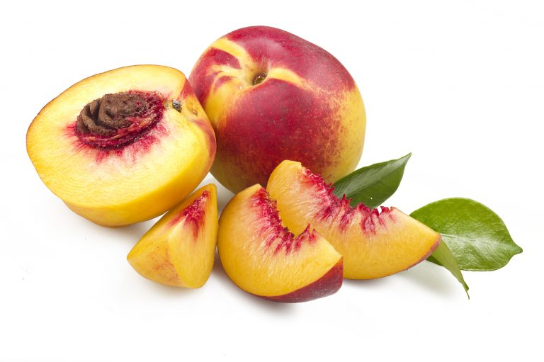 Peach Fruit with slice  on white background