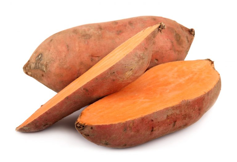 sweet potatoes Yam  isolated on white  (Ipomoea batatas)