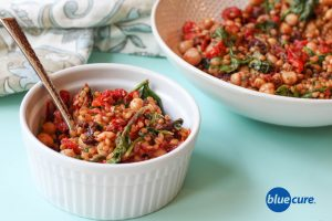 Tomato and chickpea wheat berry salad