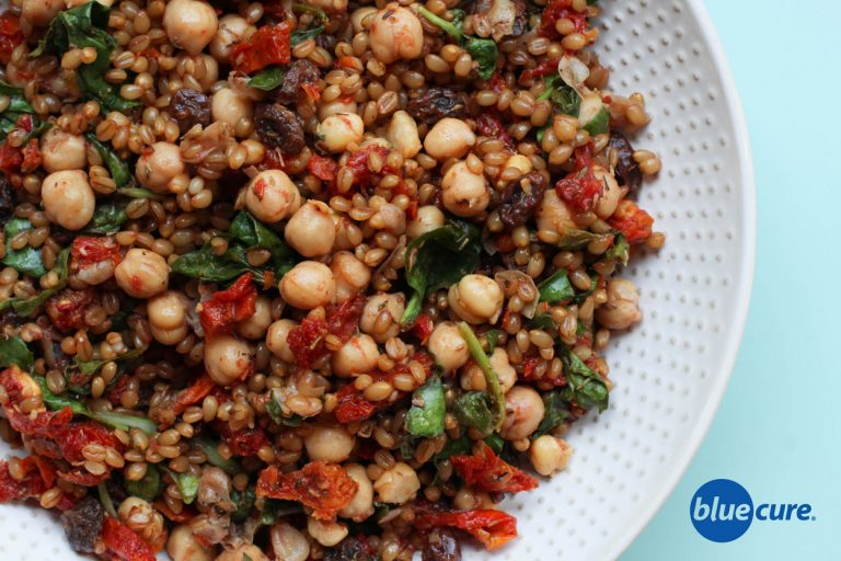 Vegan Wheat Berry Salad with sundried tomatoes